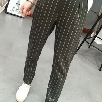 Deep Gray High-Waisted Striped Pants