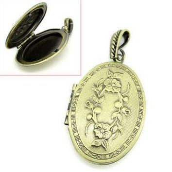 Photo Locket - Oval Antique Bronze (Fits 28x18mm) Front is Carved Flower Pattern