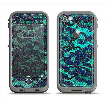 The Blue & Teal Lace Texture Apple iPhone 5c LifeProof Fre Case Skin Set