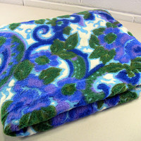 SOLD!  Vintage Fuzzy Mod Purple Green Blue White Floral Mohair Fabric 1+Yds+