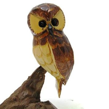 Vintage John Cowden Wood Carvers Owl in a Tree Folk Art Sculpture, Farmhouse Country Cottage Chic Home Decor