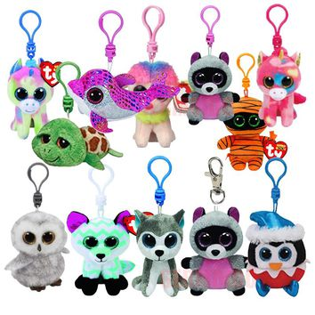 "Ty Beanie Boos Plush Clip 4"" 9cm Keychain Elephant Cat Dog Owl Unicorn Dragon Giraffe Fox Rabbit Turtle Stuffed Animal Doll Toy"