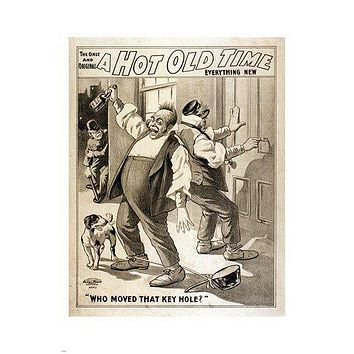 vintage print poster A HOT OLD TIME who moved the key hole HUMOROUS 24X36