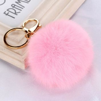 Keychain  28 colors  Faux Rabbit Fur Ball