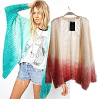 A 091115  Hollow gradient knit cardigan sweater