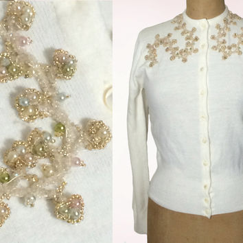 1950s Sweater, 50s Cardigan, Vintage Sweater, Beaded Sweater, Beaded Cardigan, Small Medium Sweater, White Cardigan, 1950s Cardigan