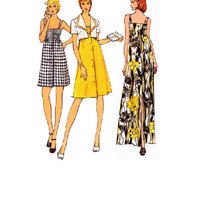 Vogue Retro 70s Sewing Pattern Uncut Jumper Dress Sundress Button Front Cropped Jacket Maxi Mini Length Empire Waist Bust 32