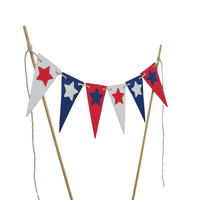 4th of July Cake Bunting Topper - Independence Day Party Decorations - No1083
