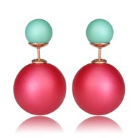 Gum Tee Mise en Style Tribal Earrings - Matte Raspberry Red and Green