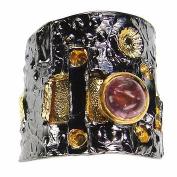 Byzantine Ring - Silver black rhodium Wide band Pink tourmaline