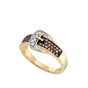 10k Yellow Gold Cognac-brown Colored Diamond Belt Buckle Band Ring 1/4 Cttw