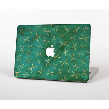 The Green And Gold Vintage Scissors Skin for the Apple MacBook Air 13""