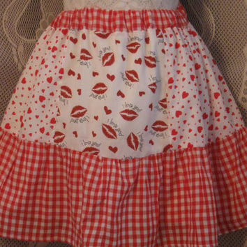 Be My Valentine Tiered Red Check and Heart Skirt Free Size