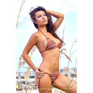 Notorious Swimwear Radiant Crochet Triangle Top & Side Tie Cheeky Scrunch Bottom Swimsuit Bikini Set