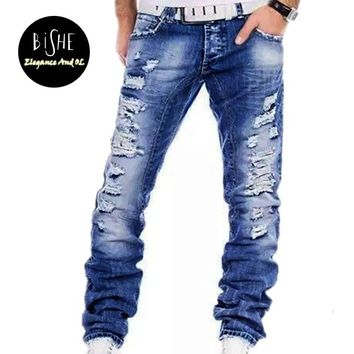 Men's Fashion Casual Blue Ripped Jean Washed Zip Denim Pants Jeans For Men Famous Brand Men Jogger Jeans Full Length Trousers