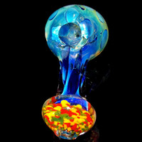Huge 154g Fumed Glass Smoking Bowl with Rasta Mouthpiece - Color Changing Spoon Pipe Blue Spots