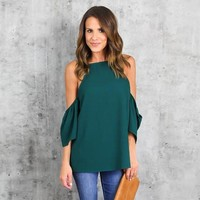 Women's Summer Cold Shoulder Kelly Green Blouse with Butterfly Ruffle Sleeve