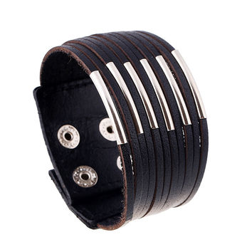 Punk Style Wide Rivet Genuine Leather Bracelets & Bangles High Quality Fashion Men Jewelry