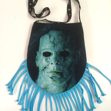 MICHAEL MYERS - Upcycled Rock T-Shirt Fringe Purse - ooaK
