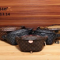 """Louis Vuitton"" Women Personality Fashion Logo Letter Waist Bag Chest Bag Mini Small Round Bag"