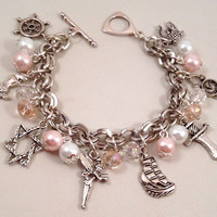 Disney Peter Pan Inspired Charm Bracelet - Pink Beaded