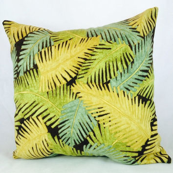 SampleSale Outdoor pillow with teal, gold and green palm leaves on a dark brown background