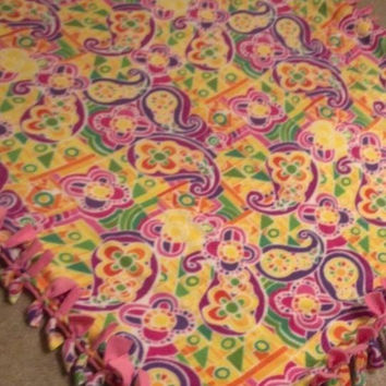 Stained Glass Fleece Blanket, Paisley Throw, Fringe Fleece, Design Your Own, Mermaid Blanket, Beach Blanket, Spring Home Decor, Paisley Gift