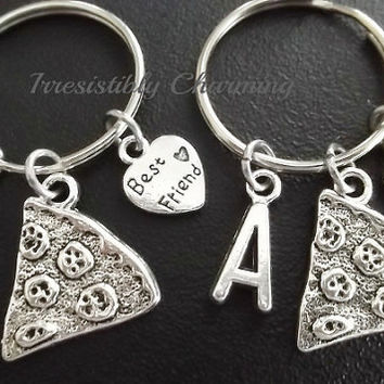 Sale.....Best friends, BFF pizza keyring, keychain, bag charm, purse charm, monogram personalized item No.662