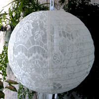 "12"" White Lace Fabric Lantern, Even Ribbing, Hanging (Light Not Included) on Sale Now! At Best Bulk Wholesale Prices"