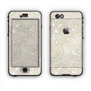 The Tan & White Vintage Floral Pattern Apple iPhone 6 Plus LifeProof Nuud Case Skin Set
