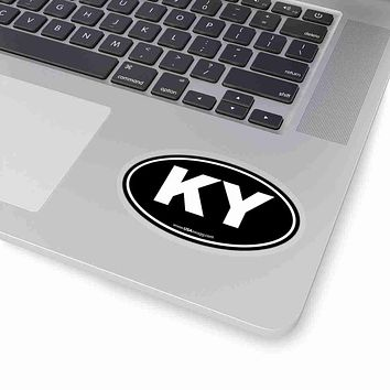 Kentucky KY Euro Oval Sticker BLACK