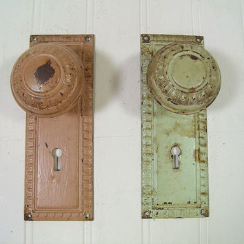 Antique Metal Door Knob Plates Matching Set of 2 with Original Mortise Dead Bolt Lock - Vintage Architectural Salvage Barn Finds Collection