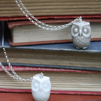 $71.00 Porcelain and silver owl necklace in white by madebymememe on Etsy