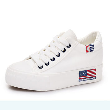 Women's Classic White Fashion Sport Canvas Wedge Lace-Up Tennis Shoes