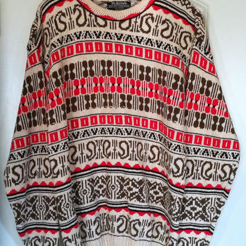 HOT STYLE Vintage OVERSIZED Sweater - Mens Xl - Extra Large - 80s or 90s Super Hip - Soft Warm Cotton Pattern Red Green Cream Paisley Nordic