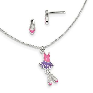 Sterling Silver Children's Ballerina Earrings & Necklace Set