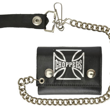 Biker Genuine Leather chain Trifold Wallet Chopper Cross 946-42 (C)