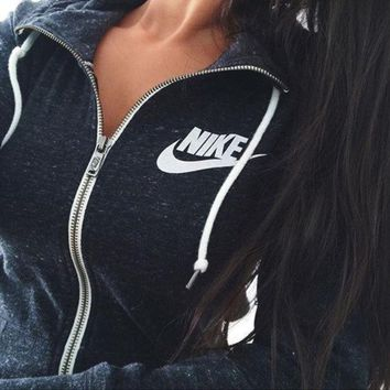 women nike casual zip cardigan sweatshirt jacket coat