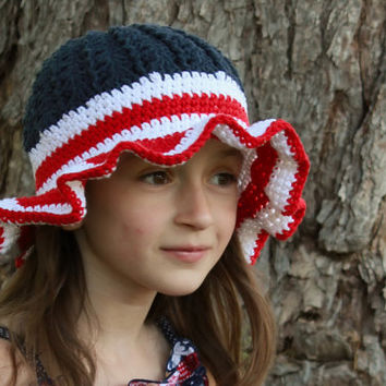 Summer 4th of July Red White and Blue Flag Sunhat, Crochet Fourth of July Hat, Striped Summer Hat, Girls, Baby, Toddler, Patriotic Hat
