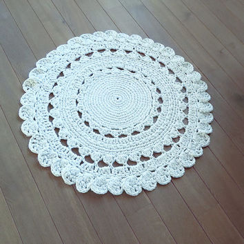 READY TO SHIP! Hand Knit Original/Crochet rug ,Round rug, Carpet, Knitting rug, Beige rug , Handmade rug, wool, 31 inc