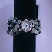 "Unique wrist watch woman beaded bracelet ""Rush Hour"""