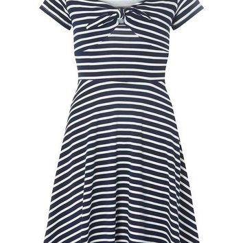 Navy Striped Bow Fit and Flare Dress | Dorothyperkins