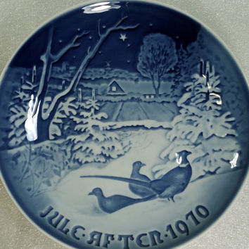 Blue and White China Collectible Plate Vintage Christmas Plate Danish Collector Plate  Denmark Gift Idea Pheasants Christmas Decor