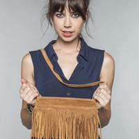 Brown single fringe purse