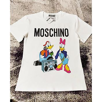 Moschino & Donald Duck Fashion New Letter Duck Print Couple Top T-Shirt  White