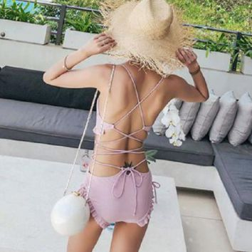 Female swimsuit, female triangle sexy back, slim body, thin chest, small fragrant breeze 2018 new swimsuit.