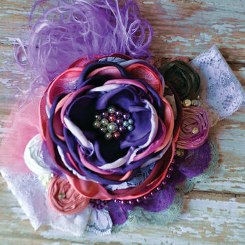 Fairy sprinkles boutique couture headband-girls headband-photo prop-purples & pinks-newborn to adult-wedding-special events-vintage inspired