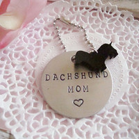 Dachshund Mom or Dad Hand Stamped Keychain Made to order