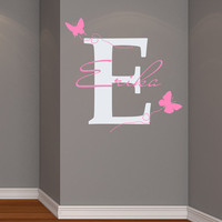 Wall Decals Vinyl Sticker Decal Home Decor Art Murals Monogram Initial Personalized Custom Name Baby Butterfly Girl Nursery Bedroom MM20
