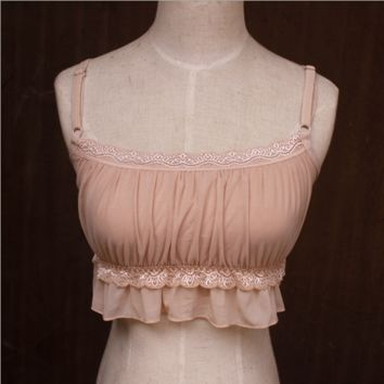 Large Chest Lace  Pleated Chiffon  Adjustable Shoulder Strap  Tops B0015114